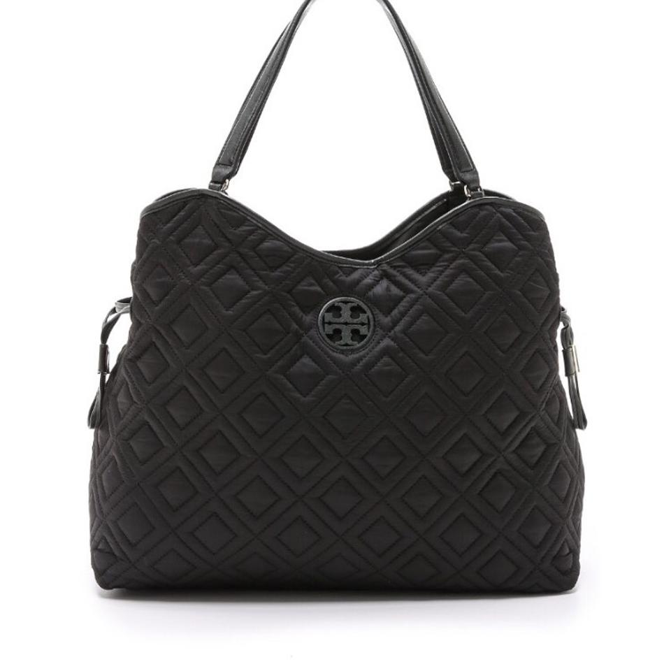 be56b0467735 Tory Burch Marion Quilted Slouchy Black Nylon Leather Diaper Bag ...