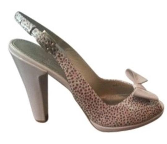 Linea Paolo Peep Toe Pink Animal Print Pumps