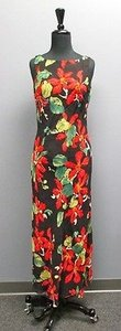 Multi-Color Maxi Dress by Geary Roark Kamisato Black Rayon Floral Print Deep V Tie Back Maxi Aa626