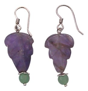 Other Sterling Silver Amethyst Leaf Dangling Earrings (A2)