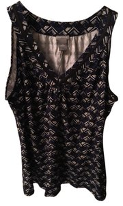 Ann Taylor Sleeveless Shell Top Black/Blue/White