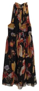 Anna Sui Metallic Floral Halter Keyhole Dress