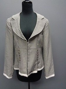 Donna Rae Donna Rae White Gray Tan Striped Hook And Eye Lined Blazer Sm12731
