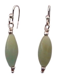 Other Sterling Silver Jade Dangling Earrings (A10)