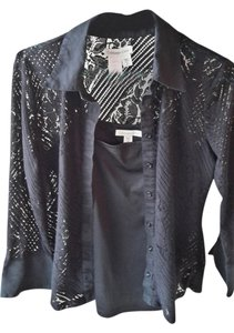 Coldwater Creek With Cami Sheer Lace Top Black