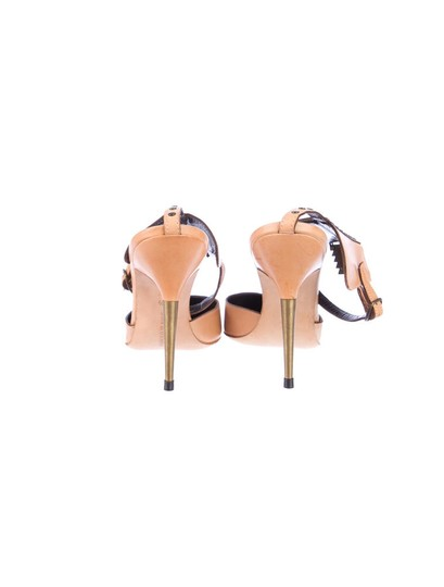 Manolo Blahnik Brass Ankle Strap Tan Pumps
