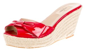 Valentino Patent Leather Bow Platform Red, Beige Sandals