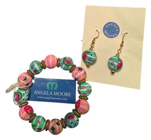 Angela Moore Angela Moore Classic Hand Painted Bracelet & Earring Set