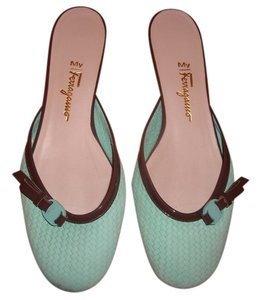 Salvatore Ferragamo Mint Green/Chocolate Mules