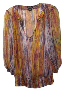 Lucky Brand Light Like New Condition Sheer Colorful Top Yellow, blue, orange, purple, pink, white.