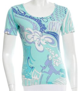 Emilio Pucci Short Monogram Print Logo Abstract Top Blue, White