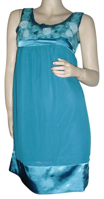 Item - Turquoise Made In Hongkong Poly Chiffon & Satin Chiffon Floral Appliques Above Knee Cocktail Dress Size 8 (M)