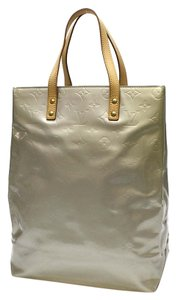 Louis Vuitton Leather Patent Leather Lv Tote in Silver