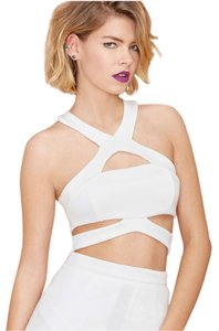 Nasty Gal Cut-out Scuba Top White