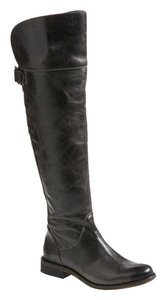 Hinge Over The Knee Chic Distressed Leather Black Boots