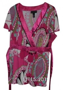 INC International Concepts Top pink multi-color