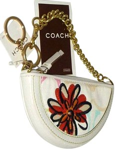 Coach Chain Strap Floral Detail Wristlet in Multi-Color