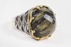 Tacori Tacori Sterling Silver 18k Gold Rutilated Quartz Black Onyx Ring