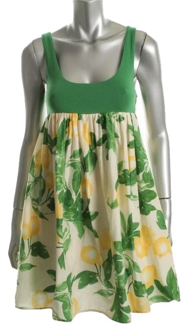 Item - Green/Floral Baby Doll Lemon Above Knee Short Casual Dress Size 4 (S)