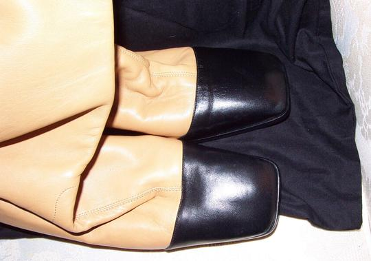 Chanel Classic Leather Lambskin Beige and Black Boots