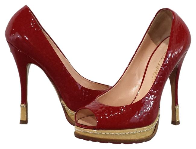 Item - Red/Beige & Patent Leather Peep Pumps Size US 6