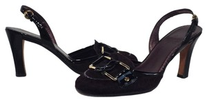 Cole Haan Pony Hair Patent Leather Oxblood Sandals