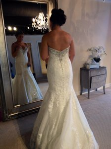 Allure Bridals Ivory Silver Lace Romance 2667 Vintage Wedding Dress Size 8 (M)
