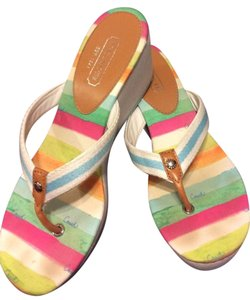 Coach Sandal Wedge Platforms White with Multi-Color Striped Sole Sandals