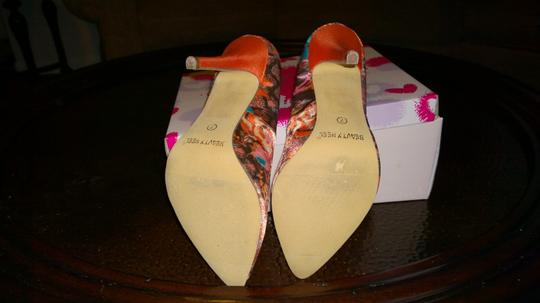 Beauty Heel Orange Size 7 Silk Cloth Feel Never Worn Size 7 Orange multi Pumps