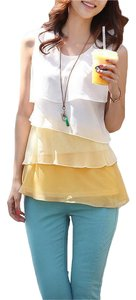 Sleeveless Chiffon Layered Top Yellow