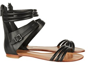 SCHUTZ Boho Leather Silver Hardware Festival Jet Black Sandals