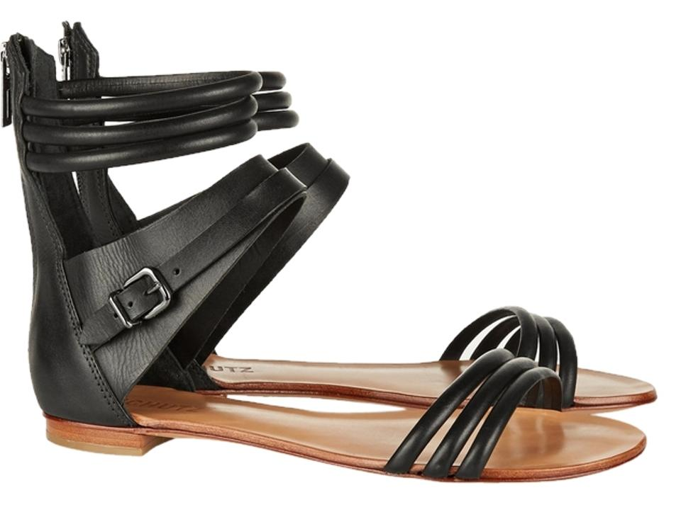 SCHUTZ Jet Black New Sandals High Ankle All Leather Sandals New fc5a3b