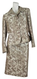 Le Suit Collections Le Suit Beige Floral Fully Lined Skirt Suit Size 12
