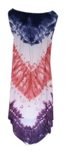 Angie short dress red, white, blue and purple tie dye Hi Lo Strapless on Tradesy