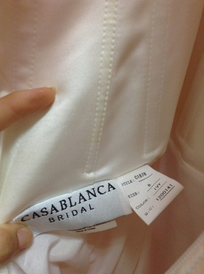 Casablanca Ivory Sheer Organza Over Silky Satin Beaded Gown Wedding Dress Size 8 (M)