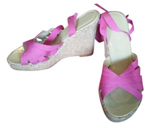 Colin Stuart Wedge Wedge fuschia grosgrain ribbon with cork bottoms Wedges