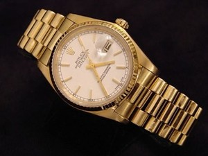 Rolex Mens Rolex Solid 18k Yellow Gold Datejust Wwhite Dial President Style Band