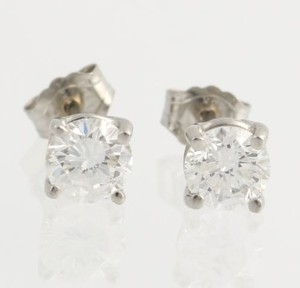 Other Diamond Solitaire Stud Earrings - 14k White Gold Natural Round .84ctw 4.6mm