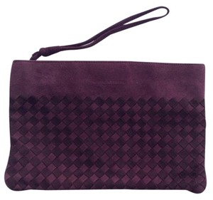 Bottega Veneta Suede Intreacciato Pouch Light And Dark Plum Clutch