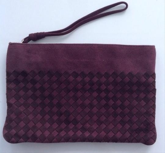 Bottega Veneta Suede Purple Intreacciato Pouch Light And Dark Plum Clutch