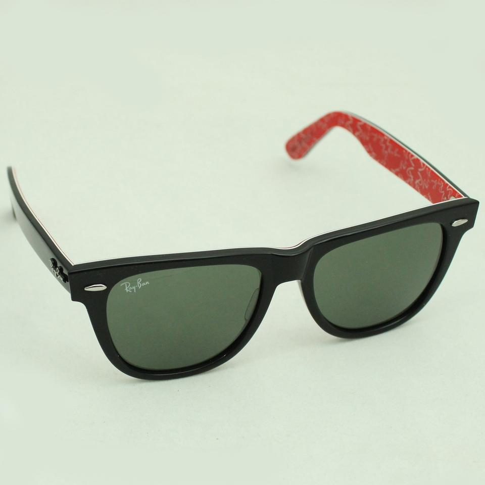 6157bf7514 Ray-Ban Black + Red Texture Inside Men Women Rb2140 Rb 2140 Wayfarer 54mm  1016 Sunglasses - Tradesy