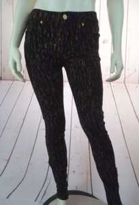7 For All Mankind Seven 27 Leopard Print Spandex Stretch Skinny New Pants