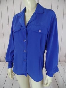 Other Christian Dior Chemises Shirt Imported Poly Pleats Classy Top Purplish Blue