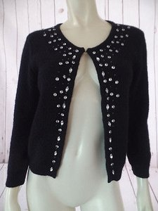 Lucca Anthropologie Cardigan Faux Gems Beads Shorty Style Retro Sweater