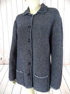 Talbots Petites Sweater Coat Wool Nylon Stretch Blend Italy Chic Black & Gray Jacket