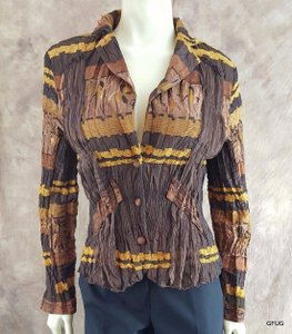 Alberto Makali Alberto Makali Bronze Brown Textured Crinkled Button-up Jacket Blazer