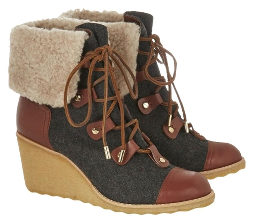 1fb0e6b450c6 Tory Burch Gray Shearling Felt Lace Up Wedges Ankle Winter Boots ...