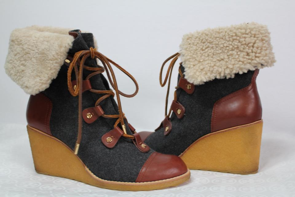 a44c95f22d1 Tory Burch Winter Wedge Shearling Gray Boots Image 11. 123456789101112