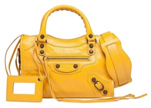 Balenciaga Buttery Leather City Tote Satchel in Buttercup Yellow