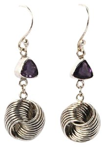 Island Silversmith Island Silversmith 925 Sterling Silver Wired Knot Amethyst Earrings 0101W *FREE SHIPPING*